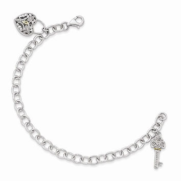 Sterling Silver with 14K Yellow Gold Diamond Heart Lock and Key Bracelet