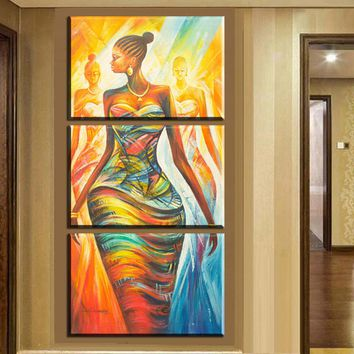 xh2237 3pcs canvas wall art prints modern abstract african women canvas painting wall art for living room decoration unframed