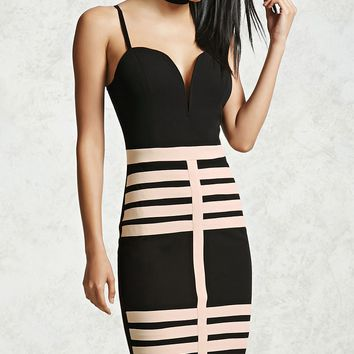 Contrast Caged Mini Dress