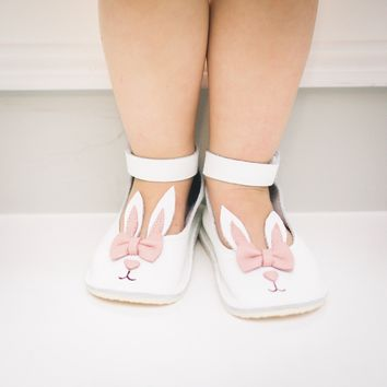 Bunny Mary Janes leather shoes with rubber soles, white rabbit Mary Janes, easter Mary Janes.