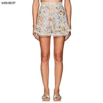 DCCKON3 wishboplovelorn shorts ivory cutwork embroidered multicolored floral cotton plain weave crochet lace ruffles hem