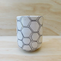 MADE TO ORDER. Black and White Hexagon Tea or Coffee Tumbler. Geometric design. Modern porcelain tumbler.