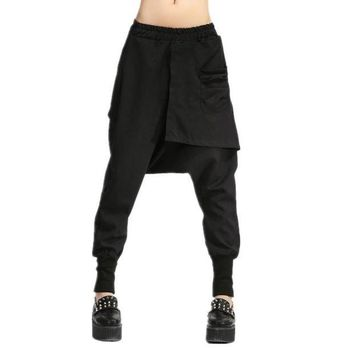 LMFG8W Autumn Women Drop Crotch Baggy Pants Hip Hop Patchwork Harem Pants Solid Elastic Waist Pencil Trousers Punk Street Sweatpants 10