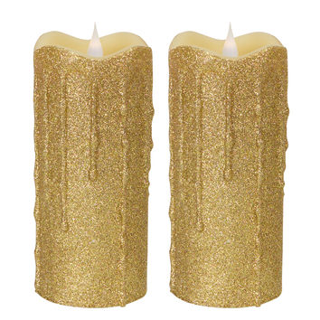 Sub Zero Collection Simplux LED Glittered Dripping Candle w/Moving Flame (Set of 2 )