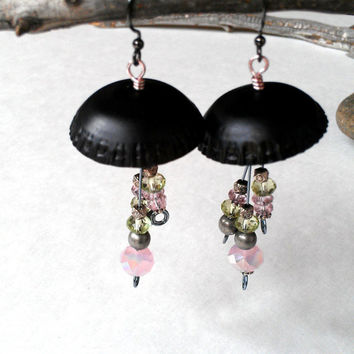 Beaded dangle earrings black and pink jellyfish earrings