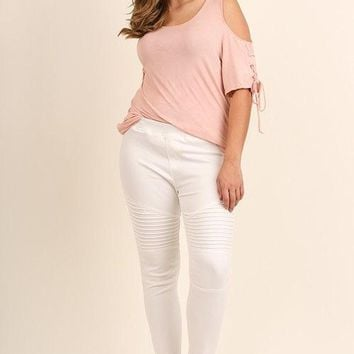 Umgee Washed Moto Jeggings with Pintuck & Zipper Detail