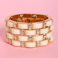 Brick by Brick Cream and Gold Stretch Bracelet