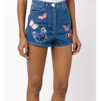 VALENTINO   Butterfly Embroidered Denim Shorts   brownsfashion.com   The Finest Edit of Luxury Fashion   Clothes, Shoes, Bags and Accessories for Men & Women