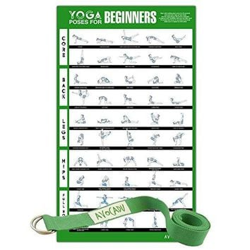 """Premium 16""""x 24"""" Yoga Poses for Beginners Poster with 6"""" Yoga Strap Included"""