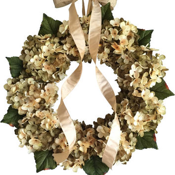 Blended Summer Hydrangea Wreath - Front Door Wreath - Green and Cream Hydrangeas - Wreaths - Outdoor Wreaths - Housewarming Gift