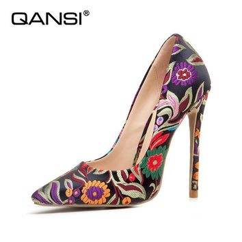 QANSI2018 new sexy embroidered thin heels shoes fashion pointed toe shoes of office High heels10CM/12CM women shoes