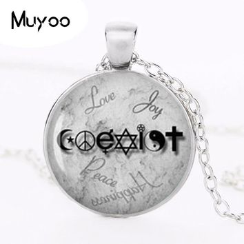 Wiccan Coexist Necklace Love Wicca jewelry Glass Dome Pendant Necklace HZ1