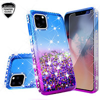Apple iPhone 11 Pro Max Case Liquid Glitter Phone Case Waterfall Floating Quicksand Bling Sparkle Cute Protective Girls Women Cover for iPhone 11 Pro Max W/Temper Glass -  (Blue/Purple Gradient)