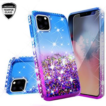 Apple iPhone 11 Case Liquid Glitter Phone Case Waterfall Floating Quicksand Bling Sparkle Cute Protective Girls Women Cover for iPhone 11 W/Temper Glass -  (Blue/Purple Gradient)