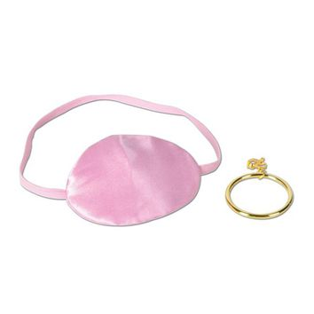 Pink Pirate Eye Patch with Plastic Earring