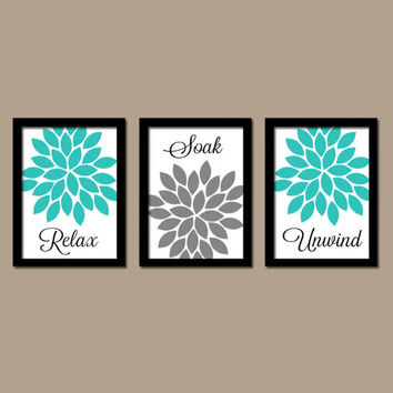 Turquoise Gray Bathroom Wall Art Canvas Artwork Relax Soak Unwind Flower Choose Colors Set of 3 Prints Shower Curtain Decor Match Three