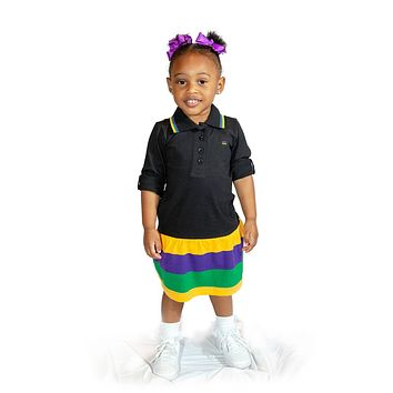 Mardi Gras Little Girls Black Polo Dress