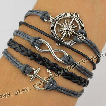 The compass Bracelet, infinity Bracelet, anchor Bracelet, Antique Silver Bracelet, daily bracelets, wax rope, grey leather, gift