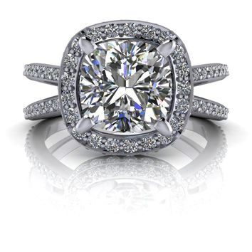 Free Center Stone! Diamond Halo Split Shank Engagement Ring - Cushion Cut Ring - Celestial Premier Moissanite