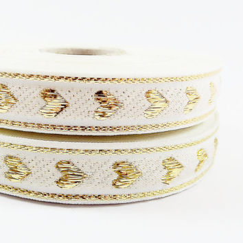Cream Metallic Gold Heart Woven Embroidered Jacquard Trim Ribbon - 5 Meters or 16 feet 427⁄32 inches or 5yd 1.4042ft