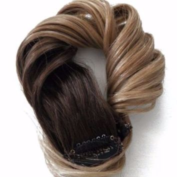 4x Clip in Human Hair Extensions Balayage Highlights Sandy Blonde #4 Brown Ombre