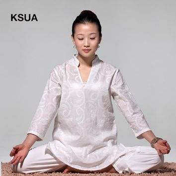 Solid White Yoga Set Linen Yoga Shirt Pants Zen Meditation Clothing Woman Sportswear Set Large Size Gym Yoga Suit Tracksuit