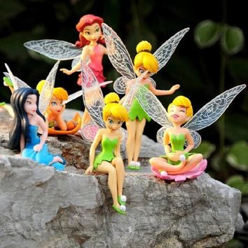 6pcs/Set Kids Gift Tinkerbell Dolls Flying Flower Fairy Children Animation Cartoon Toys Girls Dolls Baby Toy Decoration WX09