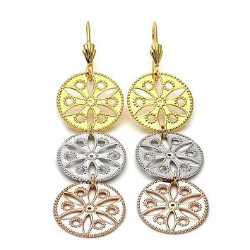 Gold Layered 5.087.002 Long Earring, Flower Design, Diamond Cutting Finish, Tri Tone