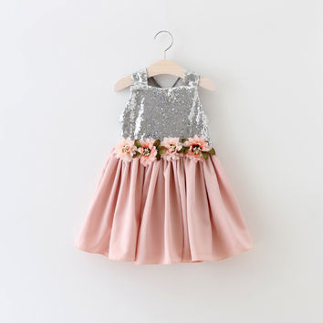 "The ""Brielle"" Shimmer Silver Dusty Rose Tutu Dress"