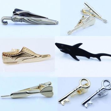 Shark Shoes Gold Silver Tie Clips for Men Unique Design 2016 New Fashion Novel Slim Ti