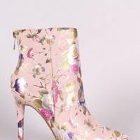 Anne Michelle Suede Floral Pointy Toe Stiletto Booties