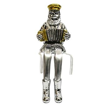 Polyresin Hassidic Figurin With Cloth Legs- Playing Accordion