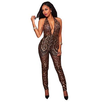 Sexy Deep-V Sleeveless Strapless Halter Backless Mesh Sequin Jumpsuit Women Gold Black Backless Bodycon Jumpsuits
