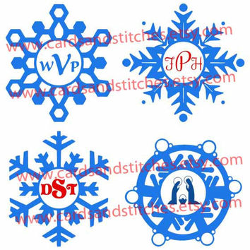 Snowflake Monogram Frames - Digital Cutting File - Instant Download - Graphic Design - SVG, DXF, JPG
