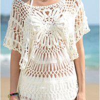 White Flared Sleeve Floral Pattern Knitted Beach Cover Up