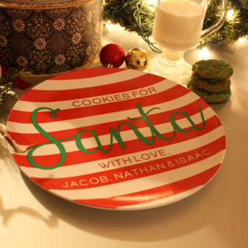 Personalized Cookies for Santa Plate - Personalized Christmas Plate - original design by a drop of golden sun
