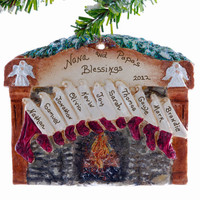 Family of 11 stockings ornament - Fireplace mantel personalized Christmas ornament for a family or group of eleven.