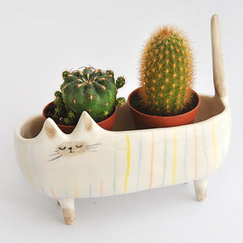 Ceramic Siamese Cat Planter. Siamese Cat Bowl Decorated with Multicolor Stripes. Made To Order