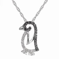Sterling Silver Black and White Diamond Penguin Pendant Necklace (1/7 cttw), 18""