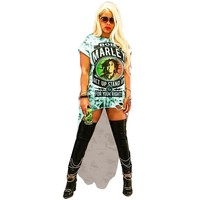 Rock Women Tshirt Dresses O-Neck Holes Dresses Lady Summer Digital Printed Clothing Sexy Club Loose Dresses