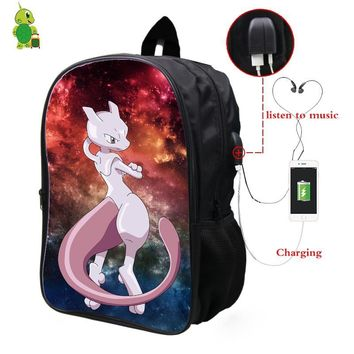 Mewtwo Galaxy Space Backpack Multifunction USB Charge Headphone Jack School Bags for Teenagers Travel Shoulder BagsKawaii Pokemon go  AT_89_9