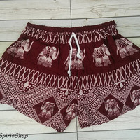 Red Shorts Elephants Print Aztec Ethnic Bohemian Ikat  Boho Chic Fashion Hobo For Beach Summer Hippie Tribal Clothing Paisley Cute Women