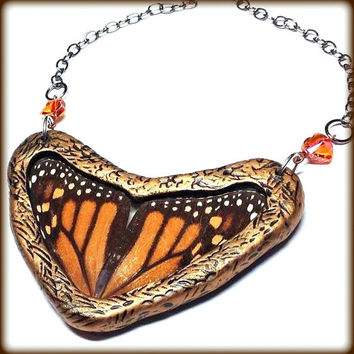 Real Butterfly Wing Necklace MONARCH BUTTERFLY Jewelry HEART Necklace