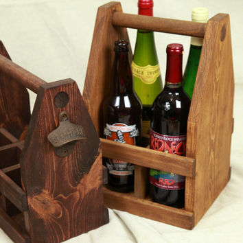 22oz Wooden Four Pack Beer OR Wine Bottle Caddy, Rustic Wedding Centerpiece