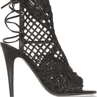 Tamara Mellon - Black Widow macramé leather sandals