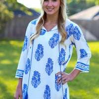 Blue My Mind Shift Dress - Ivory and Blue