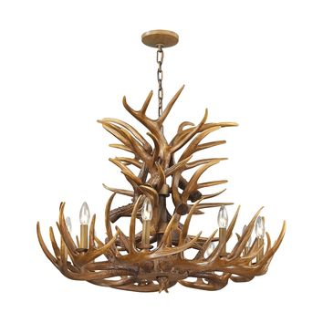 16316/9 Elk 9 Light Chandelier In Wood Brown - Free Shipping!