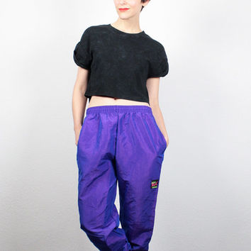 Vintage 80s Surf Style Pants Purple Iridescent Track Pants 1980s Slouchy Fit Surfer Pants Harem Pants Sporty Windbreaker Pants S M Medium L