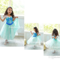 Children Dresses Summer New Frozen Girls Short-sleeved Dress Princess Dress.