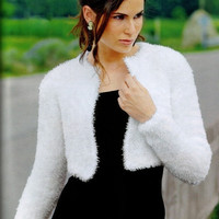 Made to Order/  Handmade Hand Knit Kate Middleton Shrug / Bolero No Buttons /Medical Scrubs/Bolero Sizes to Choose from